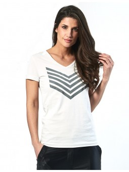 HAILEY top Coton chevrons Silver HBT