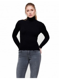 Pull Coll Roulé Noir - Only
