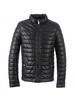 FOOTLOOSE Doudoune en Cuir Col Moto Noir Oakwood RF