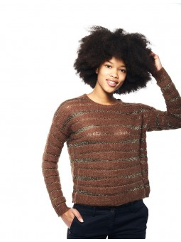 Rayé Bandes Lurex Pull See...